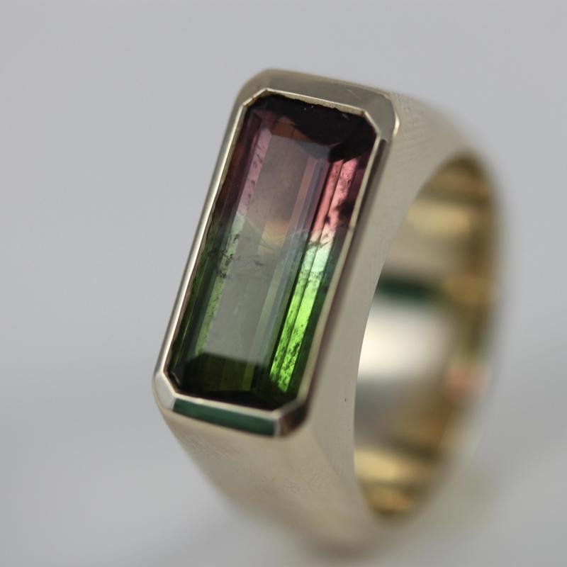 Gold watermelon tourmaline ring - commission
