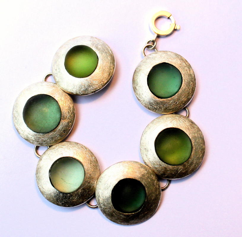 Silver and seaglass bracelet