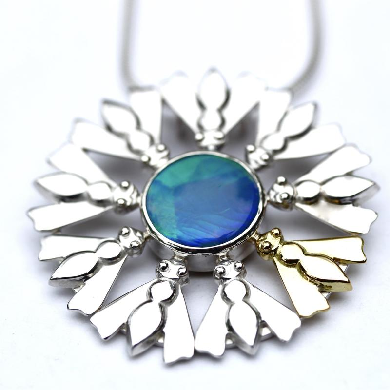 Silver,gold and opal bee necklace