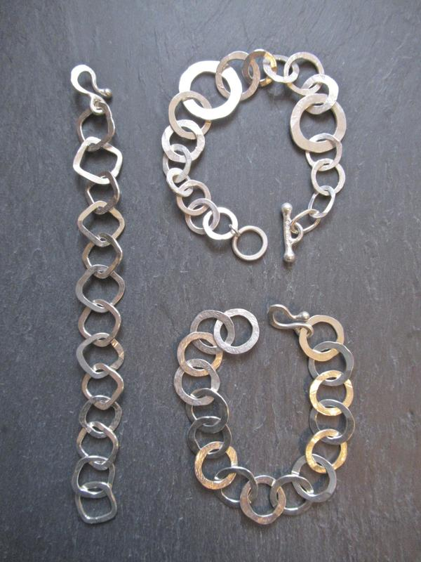 Tony Thomson Bracelets: silver links + clasps / square, round & different sized round links