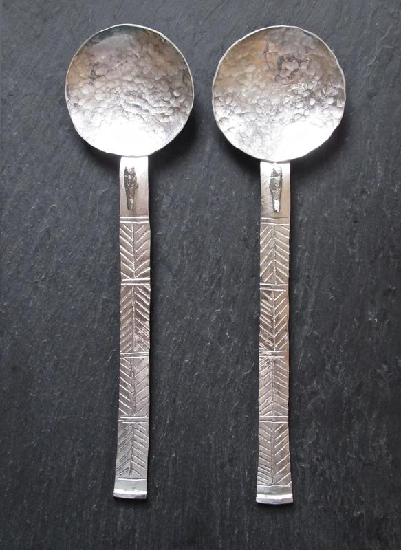 Tony Thomson Spoons: beaten silver with decoration & silver bird