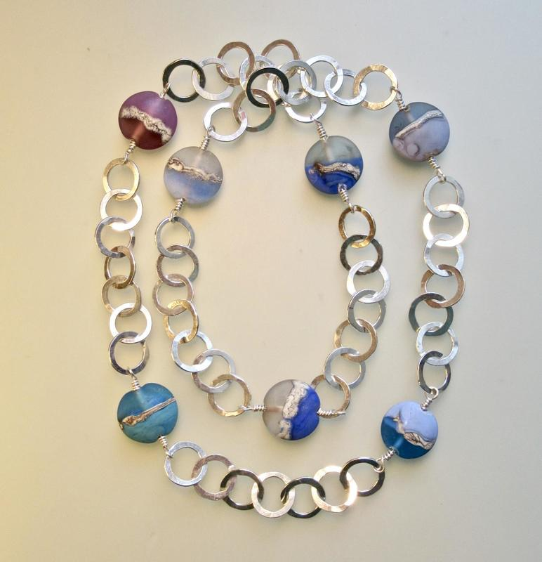 Tony Thomson Necklace: silver links with glass beads made by Sarah Thomson