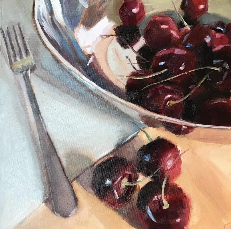 """'Life is a bowl of cherries', oil on canvas board 12x12"""" - still life of cherries in a reflective bowl and a silver fork"""