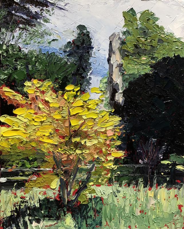 """'Acer sunshine', oil on canvas board 8""""x10""""  - trees at Claydon House in summer with a yellow acer"""