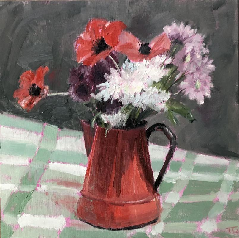 """'Poppies in a red jug', oil on canvas board 12"""" x 12"""" - still life of a red jug on a chequer table cloth with poppies"""