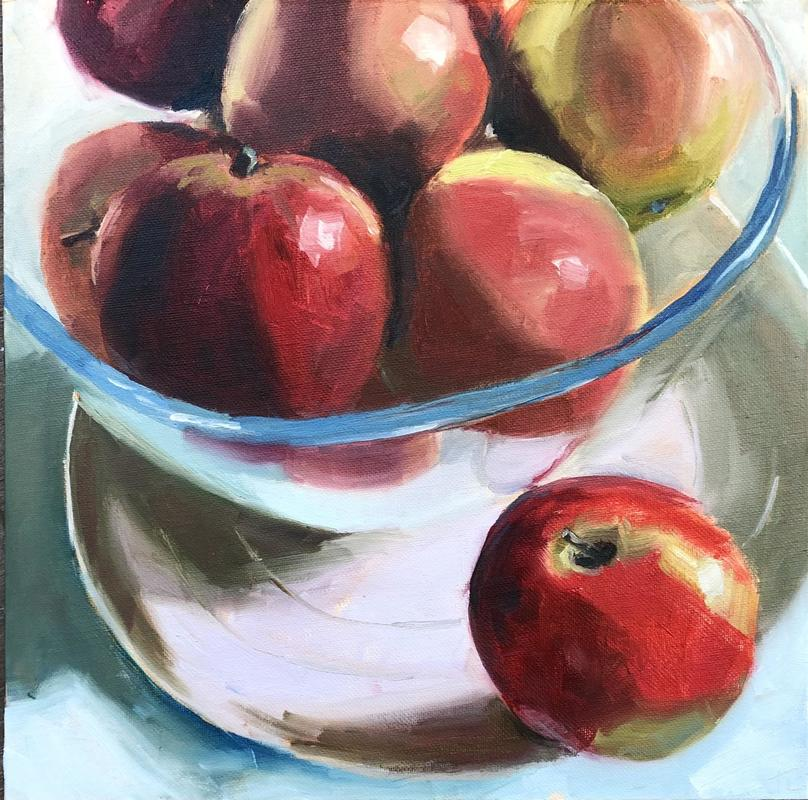 """'And one fell out', oil on canvas board 12x12"""" - still life of bowl of apples on a plate"""