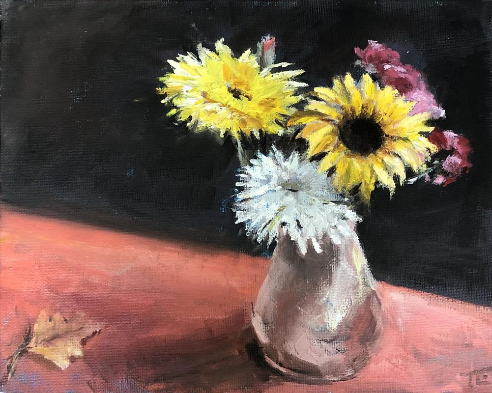 'Random leaf', oil on canvas board A4 - a vase of sunflowers on a red table cloth with autumn leaf