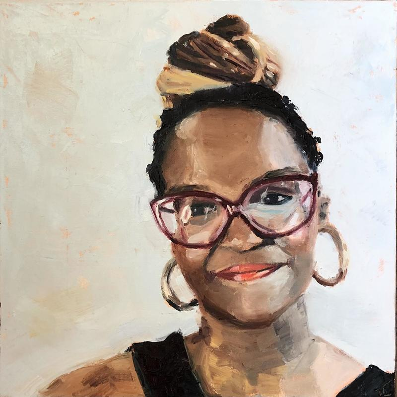 """'Oti Matuse' - oil on canvas board 12"""" x 12"""", a portrait of the Strictly Come Dancing winning dancer from Sky TV's portrait Artist of the Week"""