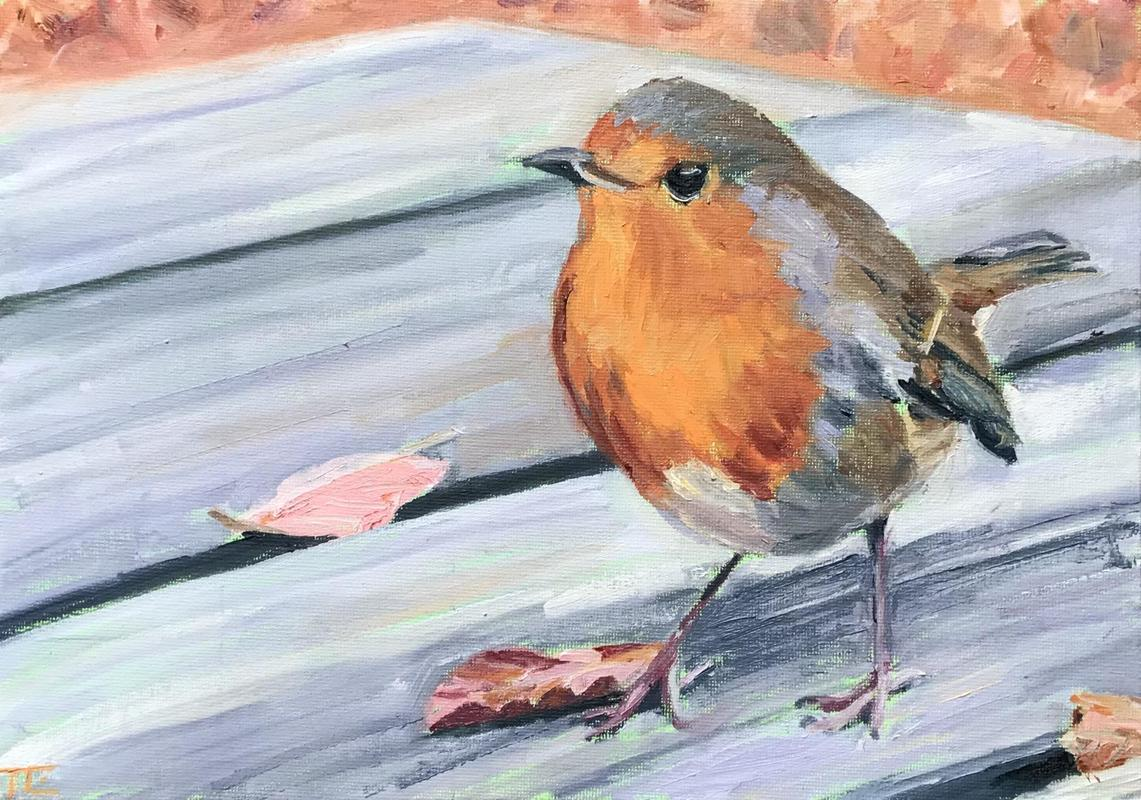 'Feed me then!', oil on canvas board A4 - a robin on a picnic table