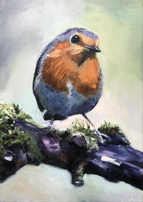 'Red, red robin', oil on canvas board A4 - a robin perched on a branch