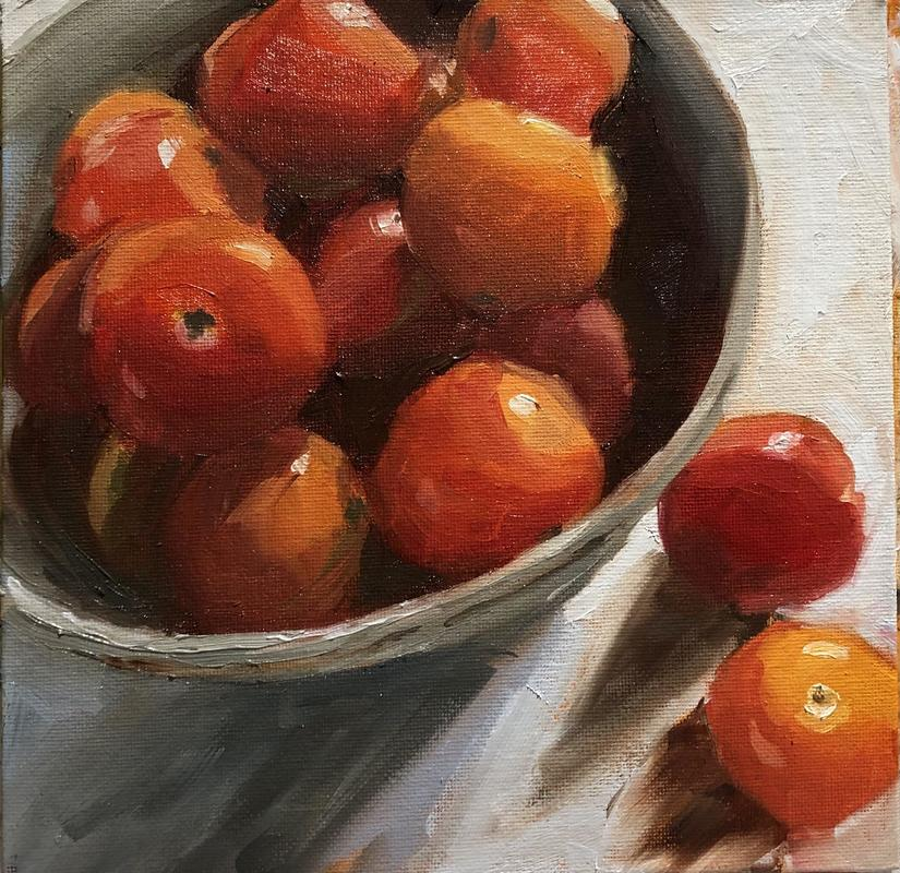 """'Succulent tomatoes', Oil on canvas board 8x8"""" - a bowl full of cherry tomatoes"""