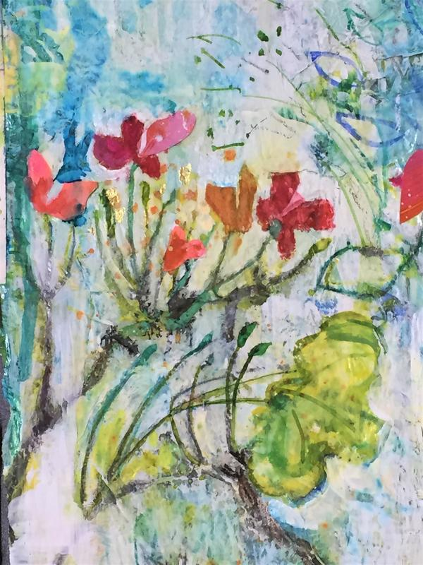 Geranium triptych section- mixed media
