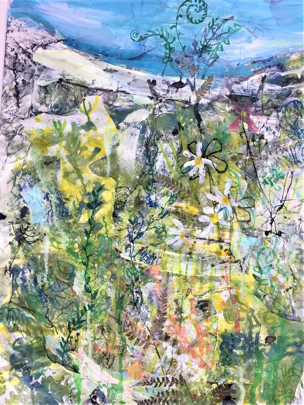 Sea Wall with ferns and daisies _ Mixed Media
