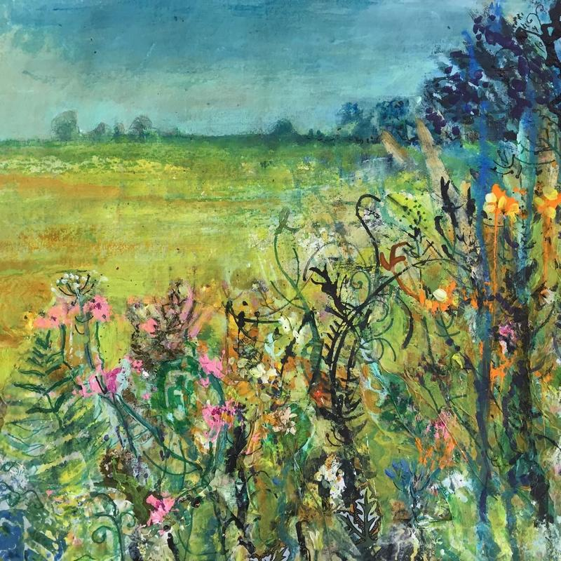 Summer field and wild flowers _ Mixed Media