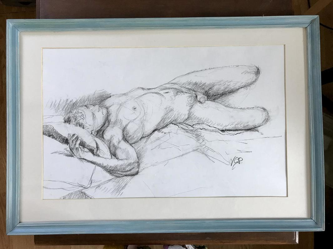 """""""Reclining Nude"""". Life drawing in charcoal on paper. 51cm x.32cm."""