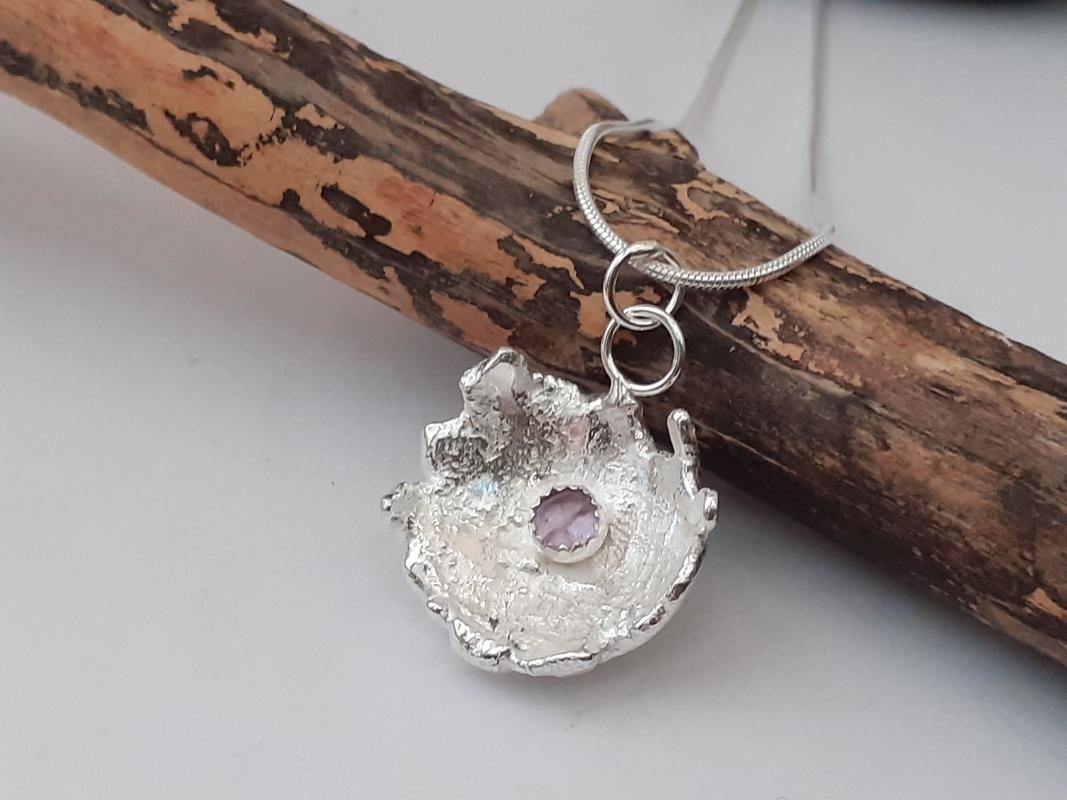 recycled silver pendant with amethyst