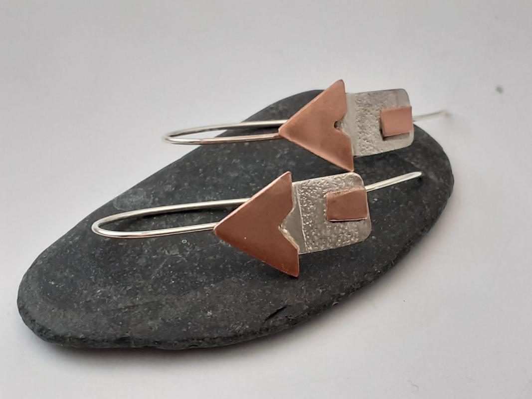 beach hut dangly earrings (copper and silver)