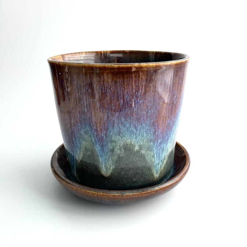 Stoneware planter with matching saucer