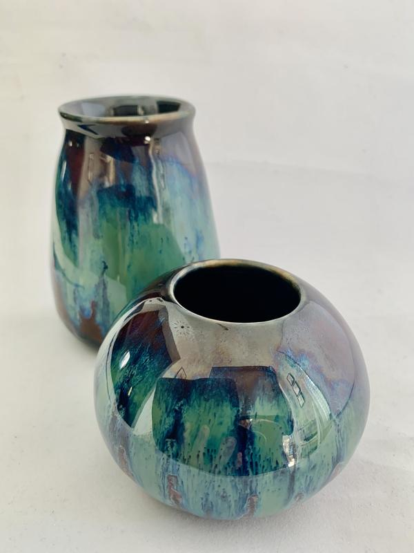 Ceramic moon vase with matching bud vase, layered glazing