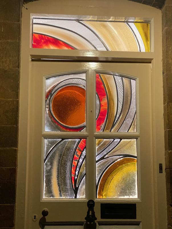 Stained glass door, fused glass and lead, Oxfordshire