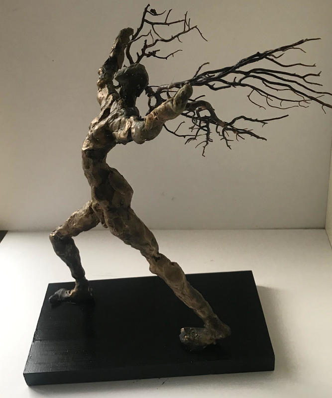 The dreamer, lost wax bronze and coral on wood plinth H200