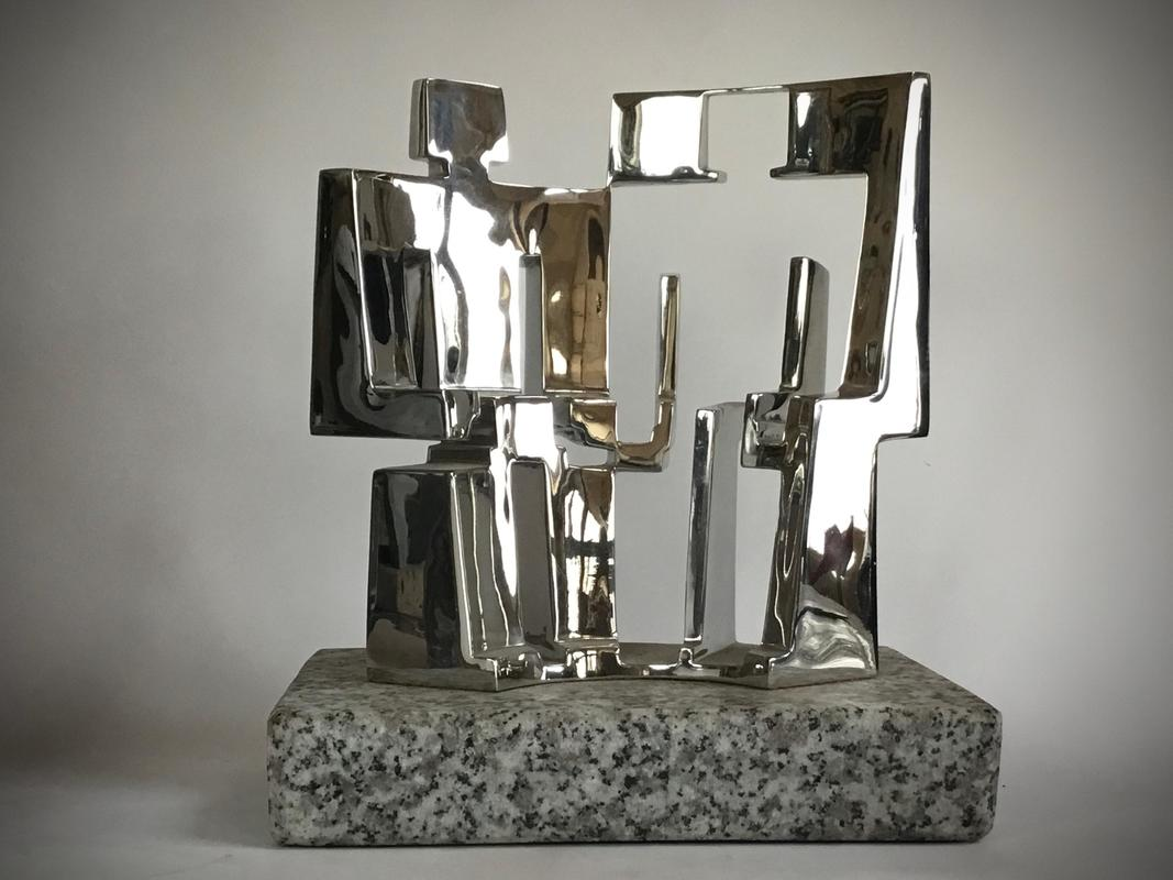 Two Figures Seated, 20 x 21 x 10 cm stainless steel