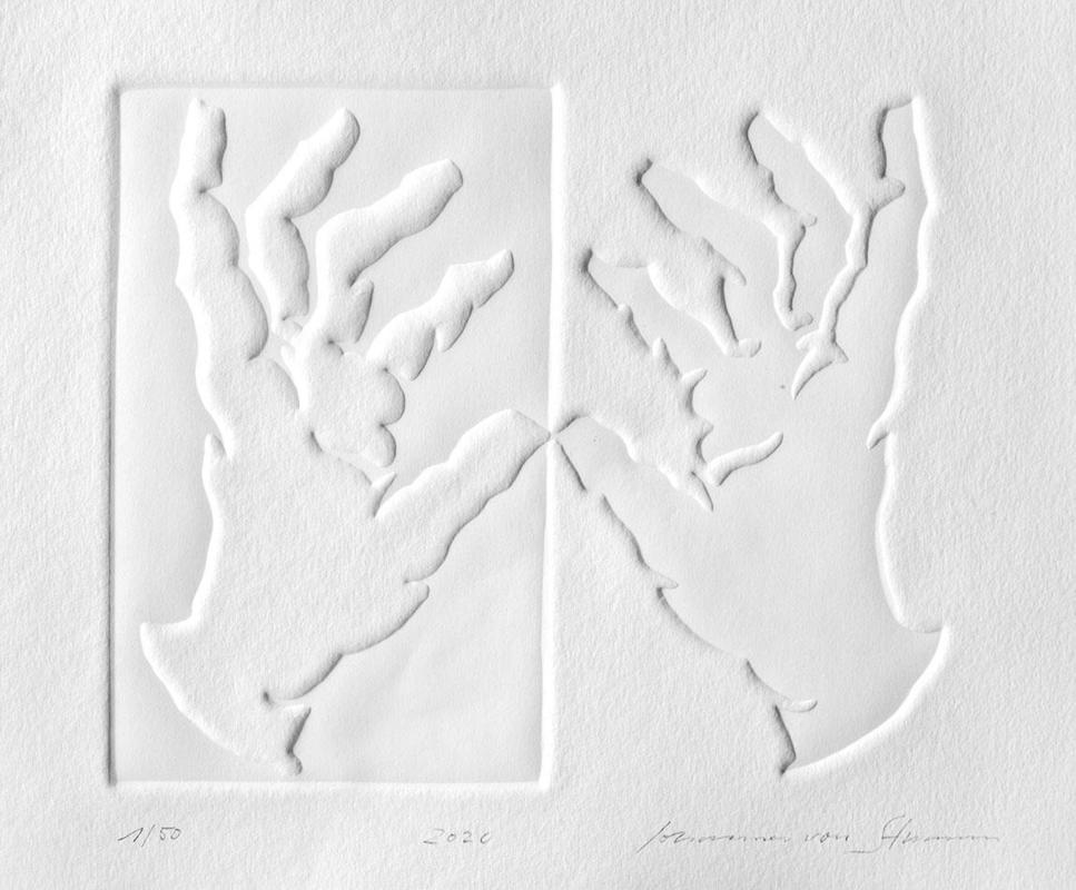 Two hands gently touching, embossed paper, 21 x 18 cm