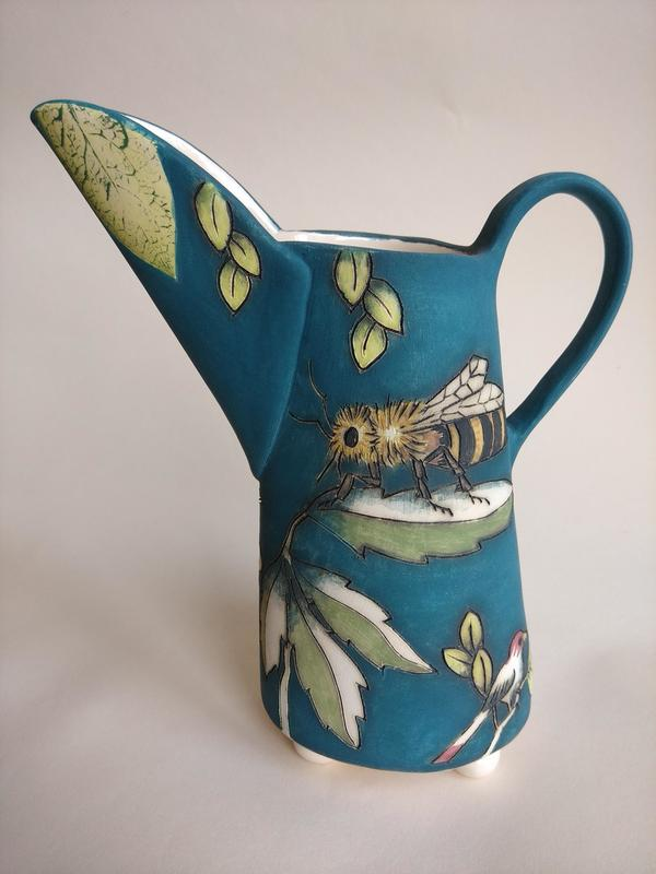Jug with bee and dragonfly