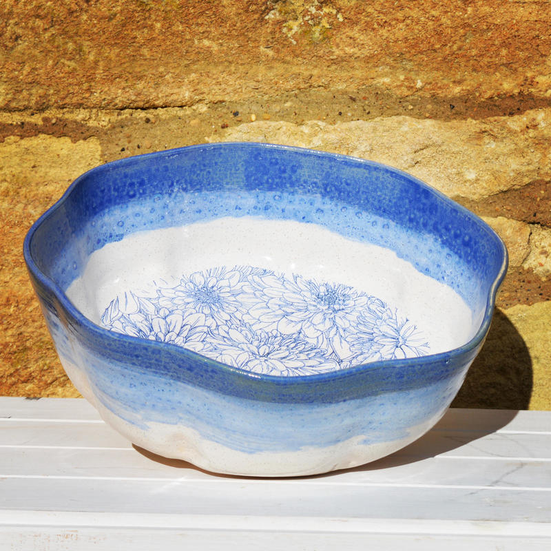 Stoneware salad bowl with flower image and blue and white glaze £50