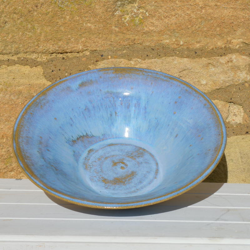 Straight-sided serving bowl with cloudy blue glaze £35