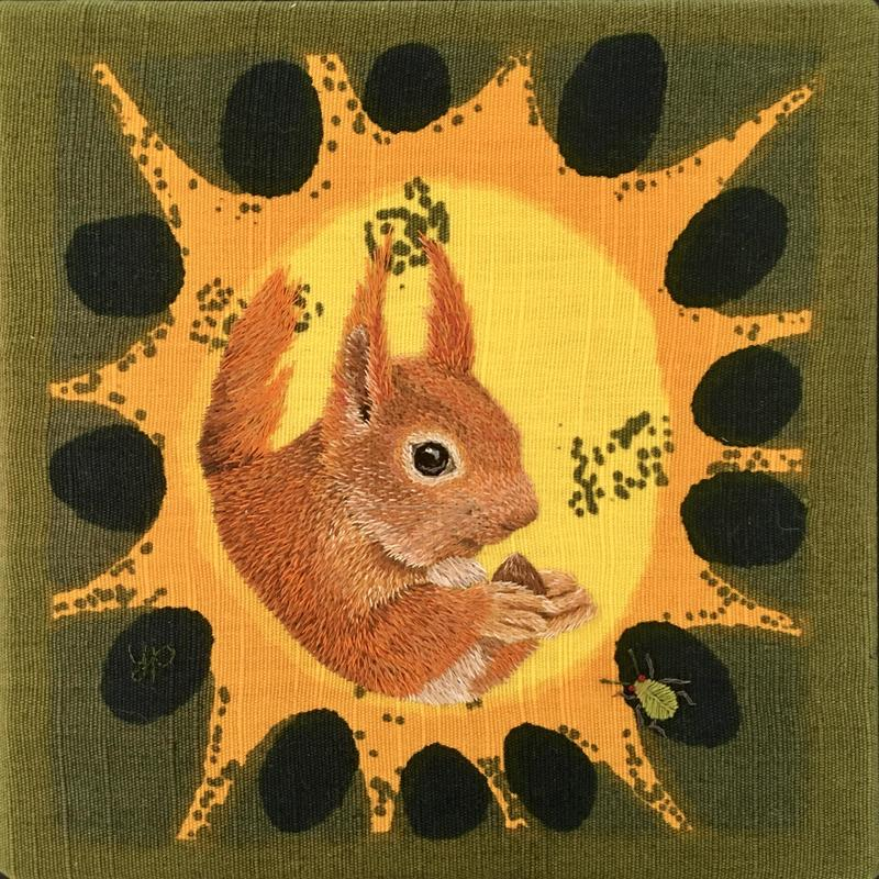 Red Squirrel - hand embroider on vintage fabric