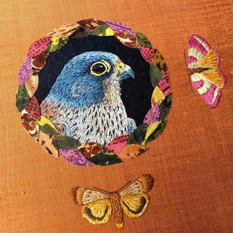 Kestrel & Moths - hand embroidery and applique on vintage silk