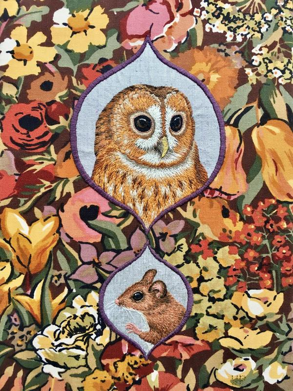 Tawny Owl & Wood Mouse - hand embroidery on vintage Liberty fabric