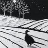 The pheasant and the plough linocut Christmas card