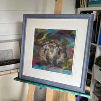 "Jo Lillywhite 'Hedgehog in Leaves' framed original pastel, 14x14"" £145"