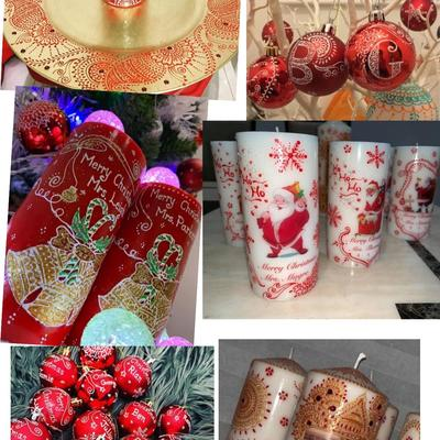 Christmas candles, baubles, gift and home decor like coasters and cupcake stand, with options to personalise with name, message, colour and photos