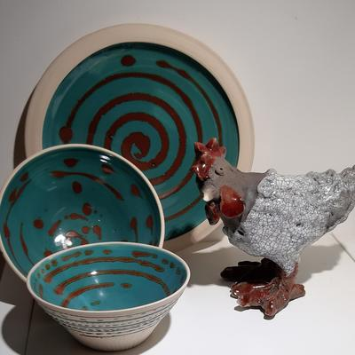 Turquoise stoneware bowls and Raku chicken