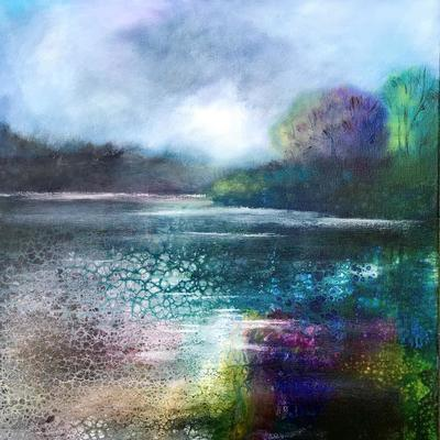 Lake Reflections, mixed media on canvas