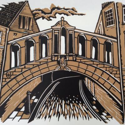 Hertford Bridge, Oxford (Bridge of sighs) a limited edition Linocut by Gerry Coles £50 (unframed)