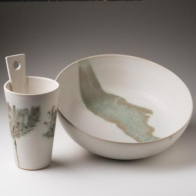 vase and large bowl; hanging vase £35, large bowl (29cm) £80