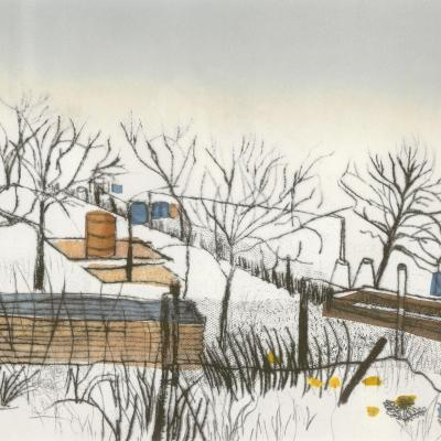 William Fowler Allotments, Chipping Norton  - hybrid mono-print, mostly drypoint and chine colle print. 72x50cm £450