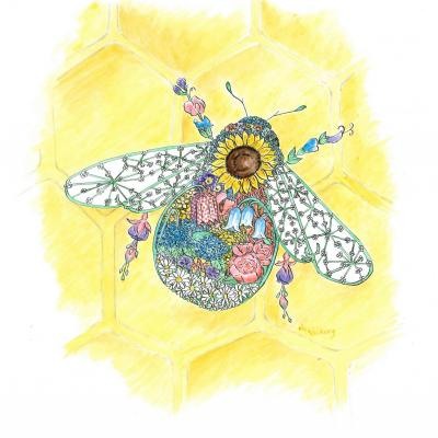 'Blossom Bee' a flower laden bee made up of British flora. Available as a limited edition print