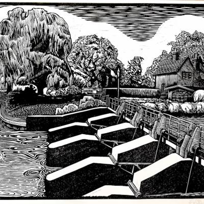 Benson Weir / Linocut                  Printmaking Printmaker Oxford Oxfordshire Willow Trees River Lock