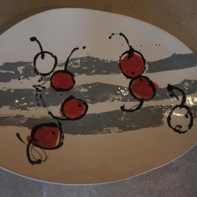 Very Cherry! Large earthenware platter with slip decoration