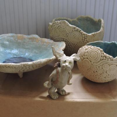 Handmade stoneware coiled bowls with galaxy matt glaze. Also other glazes available.Hiking hare with knapsack