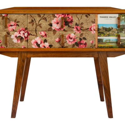"""""""Thames Valley"""" - mid century console table refreshed with 1950's block printed paper and vintage travel guide."""