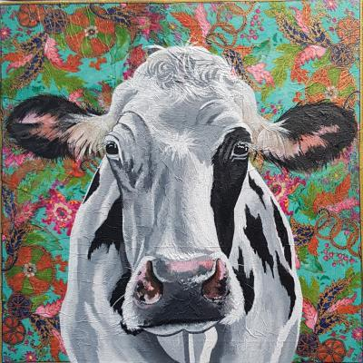 Hippy Moo! Mixed media 50x50cm canvas £375