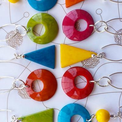 Lovely lightweight tagua nut earrings with sterling silver wires £18