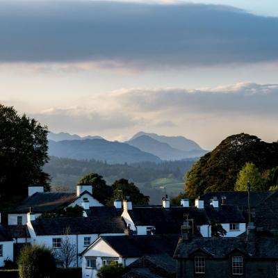 Looking over Near Sawrey, Cumbria, the home of Beatrix Potter to the Langdale Pikes