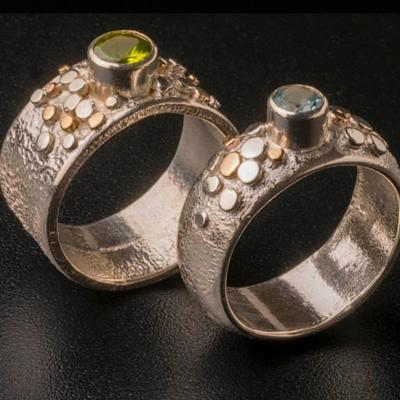 Pebble Rings -textured sterling silver wide band rings with little silver and 9ct gold 'pebbles'.  From £175